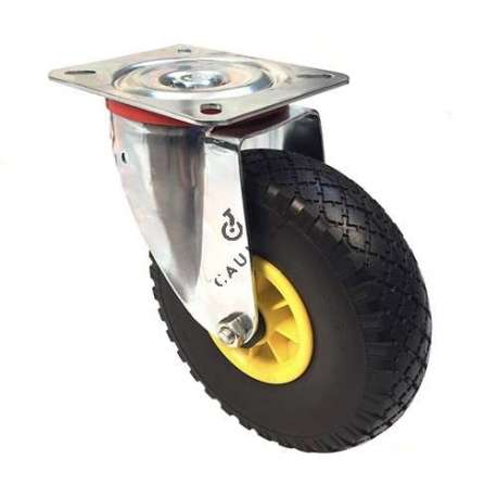 Swivel castor with 260 mm diameter pneumatic tyre wheel.
