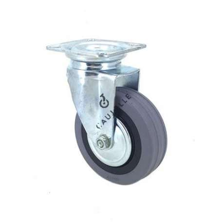 Industrial castor wheel with plate in non-marking rubber 80 mm diameter