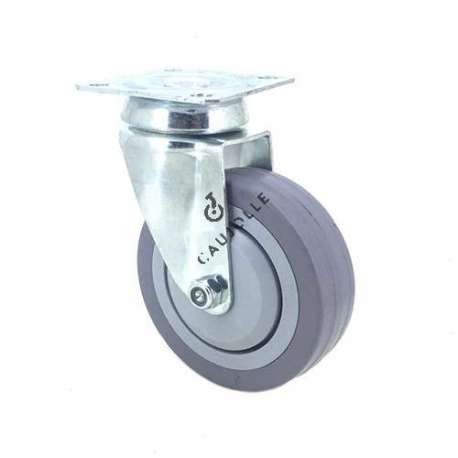Industrial castor wheel with plate in non-marking rubber 100 mm diameter