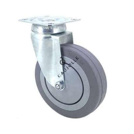 Industrial castor wheel with plate in non-marking rubber 125mm diameter
