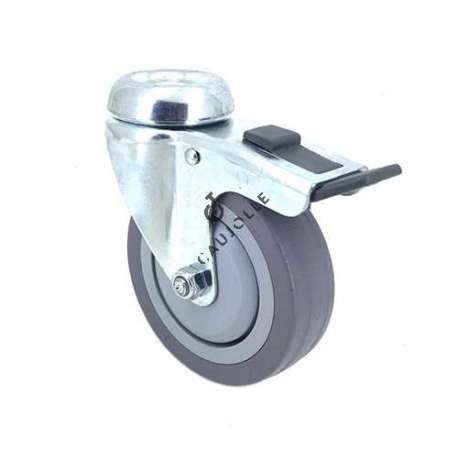Industrial castor wheel with eye and brake in non-marking rubber 100 mm diameter