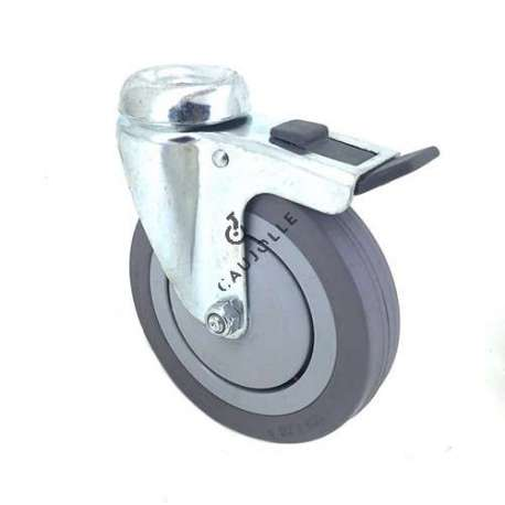 Industrial castor wheel with eye and brake in non-marking rubber 125 mm diameter