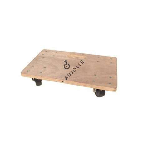 Wooden platform trolley measuring 45x30 cm with 4 rubber casters of 75 mm diameter.