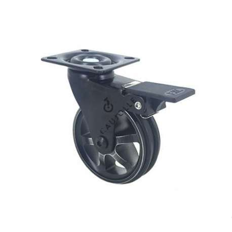 Black swivel designer castor wheel with brake, in die-cast aluminium 75 mm diameter.