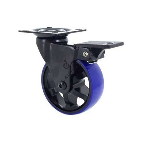 Swivel castor wheel with brake in die-cast aluminium 75 mm diameter with blue polyurethane tyre.