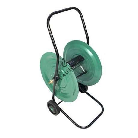 This metal hose reel on wheels will facilitate putting away and transporting your water hose.