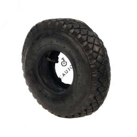Set 260 mm diameter tread tyre with 4-inch rim and air chamber in rubber.