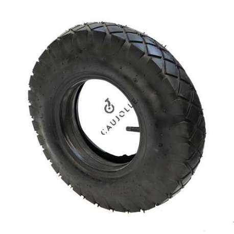 Set of 4-ply turf tyre 400 mm diameter for 8-inch rim and air chamber in rubber.