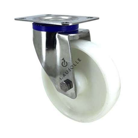 Swivel castor wheel STAINLESS STEEL 150 mm diameter nylon for the food industry.