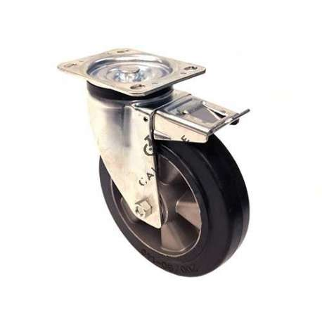 Reinforced industrial castor wheel in rubber with brake 200 mm diameter, perfect for supple and silent handling on all types of industrial surfaces.