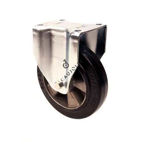 Reinforced industrial castor wheel no-swivel in rubber 200 mm diameter, perfect for supple and silent handling on all types of industrial surfaces.