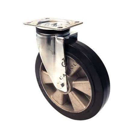Reinforced industrial castor wheel in rubber 250 mm diameter, perfect for supple and silent handling on all types of industrial surfaces.
