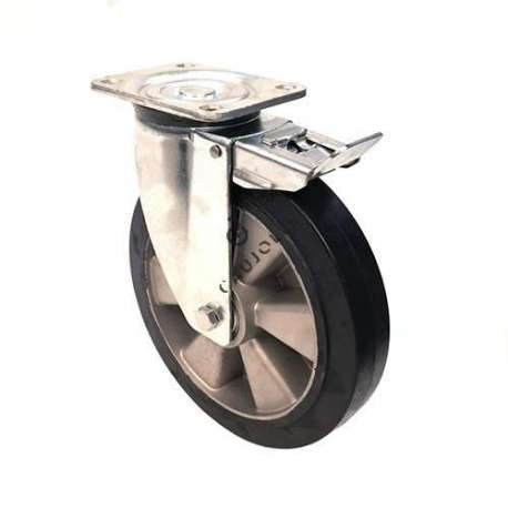 Reinforced industrial castor wheel in rubber with brake 250 mm diameter, perfect for supple and silent handling on all types of industrial surfaces.