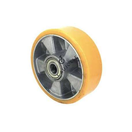 Polyurethane wheel with aluminium body 160 mm diameter with ball bearings in 20 mm bore. Very robust product