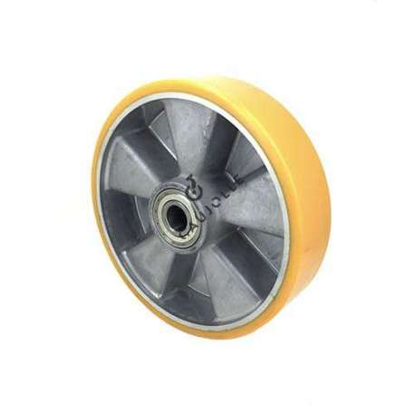 Polyurethane wheel with aluminium body 200mm diameter with ball bearings in 20 mm bore. Very robust product