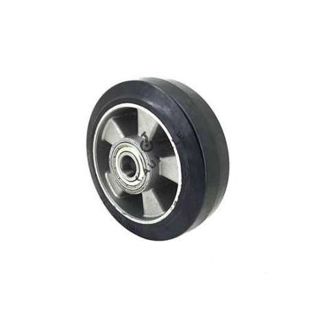 Industrial wheel in moulded rubber on cast aluminium rim, 160mm diameter and 20mm ball bearings.