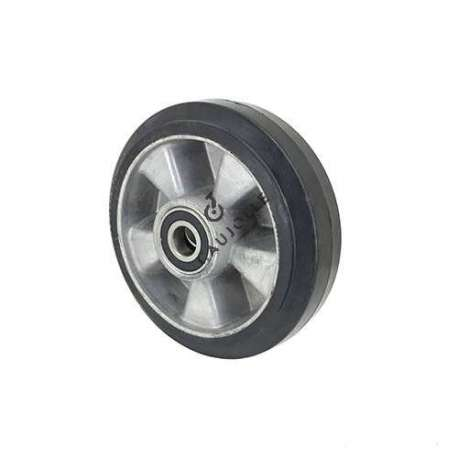 Industrial wheel in moulded rubber on cast aluminium rim, 180 mm diameter and 20 mm ball bearings.