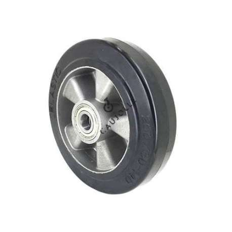 Industrial wheel in moulded rubber on cast aluminium rim, 200 mm diameter and 20 mm ball bearings.