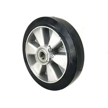 Industrial wheel in moulded rubber on cast aluminium rim, 250 mm diameter and 25 mm ball bearings.