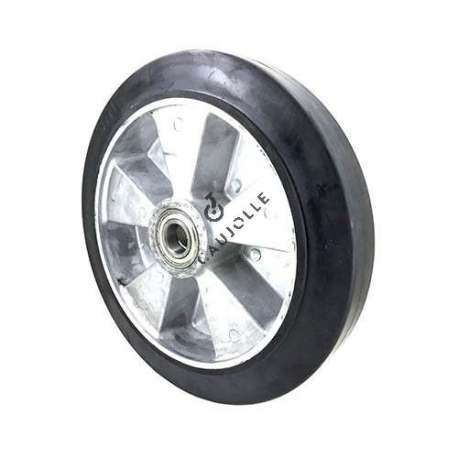 Industrial wheel in moulded rubber on cast aluminium rim, 300 mm diameter and 25 mm ball bearings.