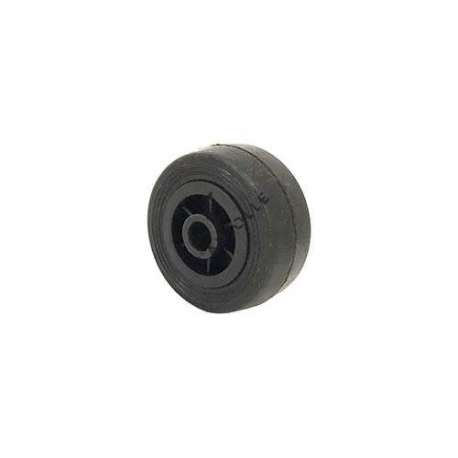 Small rubber wheel 50 mm diameter, slick tyre, smooth hub, without bearings.