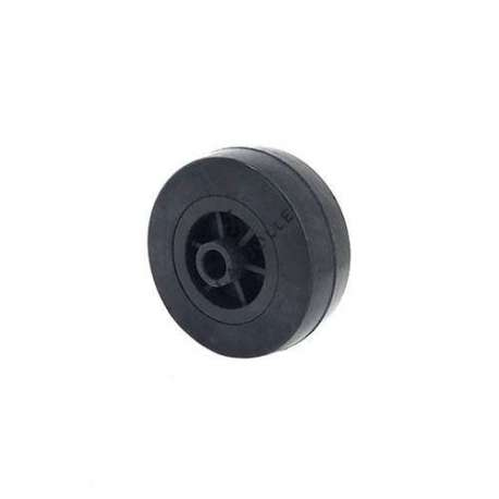 Small rubber wheel 65 mm diameter, slick tyre, smooth hub, without bearings.