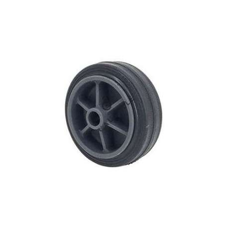 Small rubber wheel 80 mm diameter, slick tyre, smooth hub, without bearings.