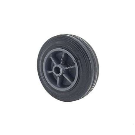 Small rubber wheel 100 mm diameter, slick tyre, smooth hub, without bearings.