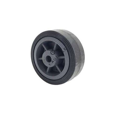 Reinforced small rubber wheel 100 mm diameter, slick tyre, smooth hub, without bearings.
