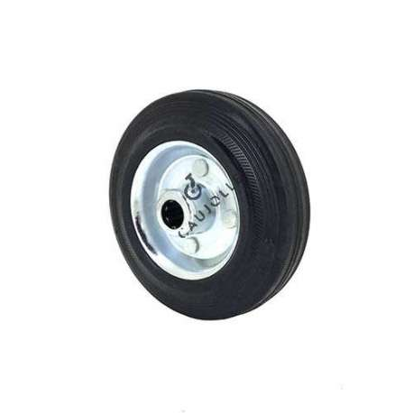 Small rubber wheel 125 mmdiameter, slick tyre, smooth hub, without bearings.