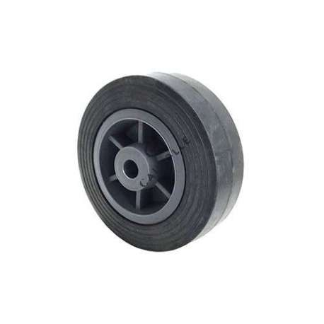 Small rubber wheel 125mmdiameter, slick tyre, smooth hub, without bearings