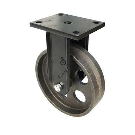 Cast iron wheel with fixed plate, diameter 200 mm.