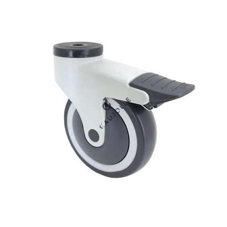 Handling castor wheel with eye and brake, in PVC, 125 mm diameter. ROULPLAST