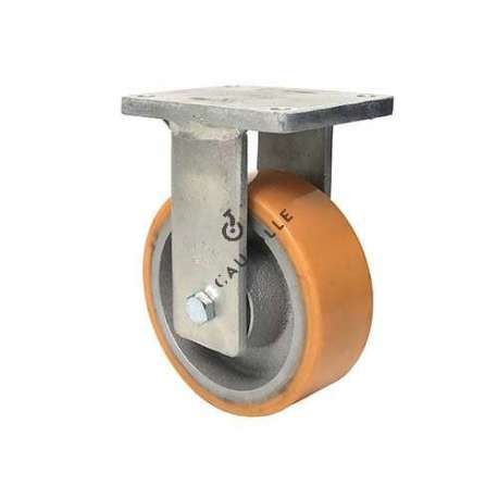 Fixed goods-handling caster in cast iron and polyurethane diameter 200 mm