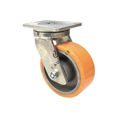 Pivoting goods-handling caster in cast iron and polyurethane diameter 200 mm