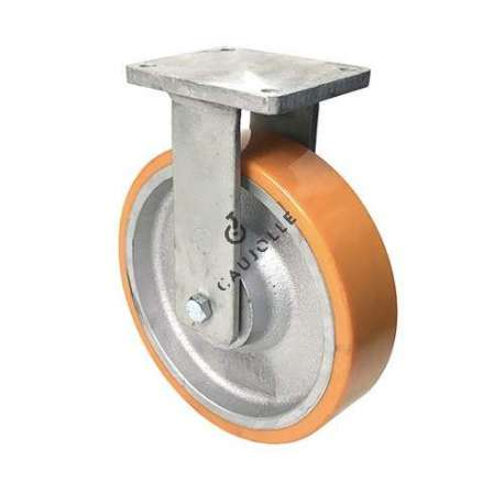 Fixed caster for goods-handling in cast iron and polyurethane diameter 300 mm