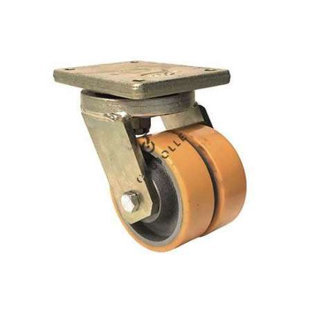 Particularly low height goods-handling caster with double wheel (150 mm) for very heavy loads