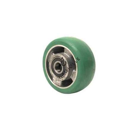 Industrial wheel in green elastic polyurethane diameter 125 mm and convex curved profile