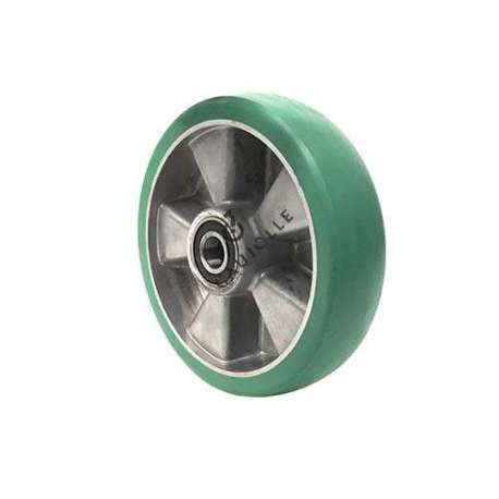 Industrial wheel in green, elastic polyurethane 200 mm diameter with round profile