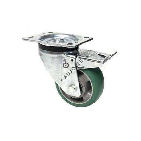 Brakes swivel caster in flexible polyurethane with a rounded profile diameter 125 mm