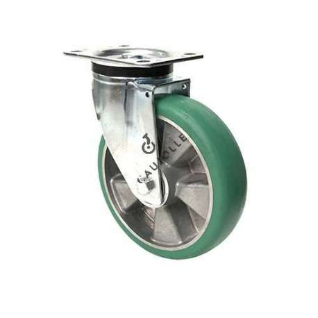 Pivoting wheel in flexible polyurethane with rounded profile and 200 mm diameter