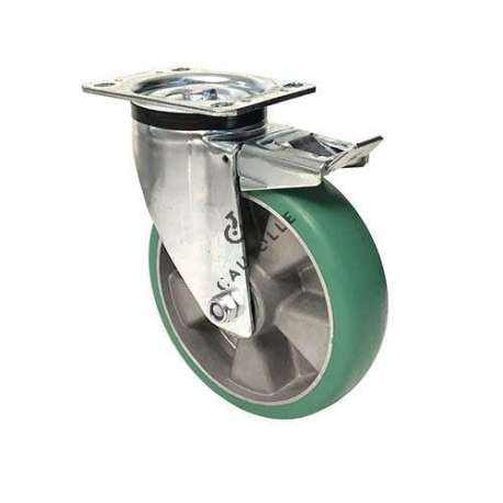 Swivel braked castor in flexible polyurethane with a rounded profile 200 mm diameter