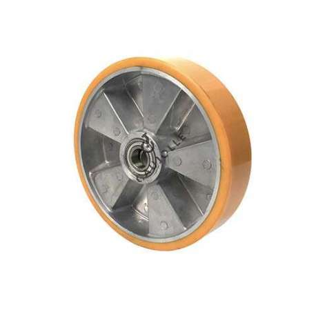 Polyurethane wheel with aluminium body 200 mm diameter with ball bearings in 20 mm bore. Very robust product