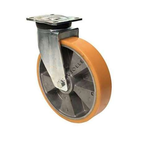 Goods-handling castor for moving very heavy weights, pressed sheet metal mounting wheel body in aluminium and polyurethane tyre diameter 250 mm with bearings.