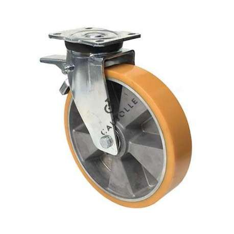Goods-handling swivel caster for very heavy loads, with brake, mounting in pressed sheet metal, wheel body in aluminium and polyurethane tyre, diameter 250 mm with bearings.
