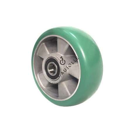 Industrial wheel in green, elastic polyurethane 160 mm diameter with round profile