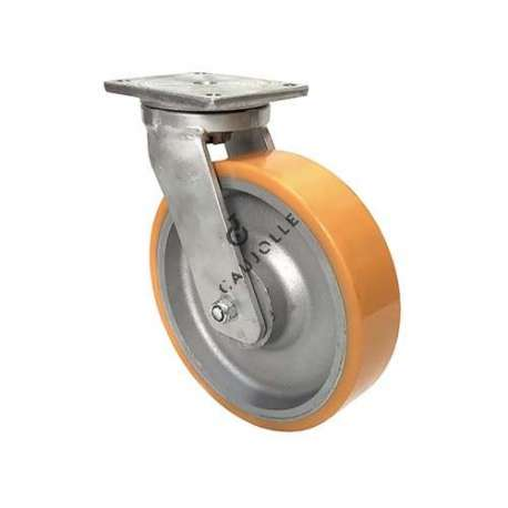 Swivel castor for goods handling in cast iron and polyurethane diameter 300 mm