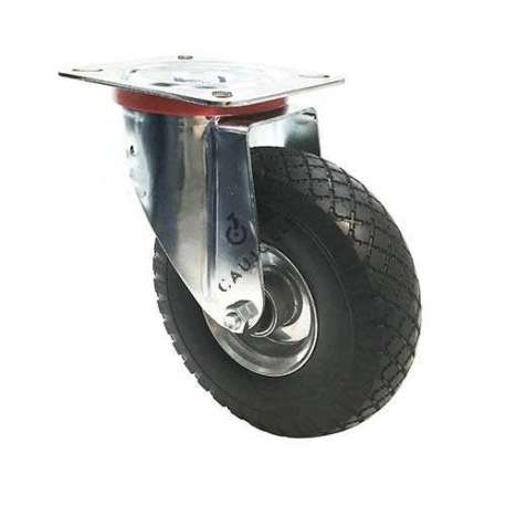 Swivel castor with puncture-proof tyre and metal rim, diameter 260mm.