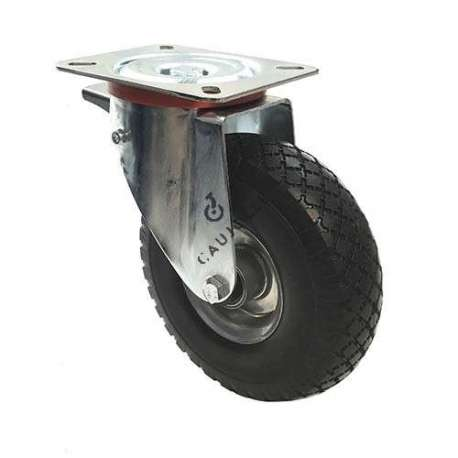 Braked swivel castor with puncture-proof tyre and sheet metal rim, diameter 260 mm.