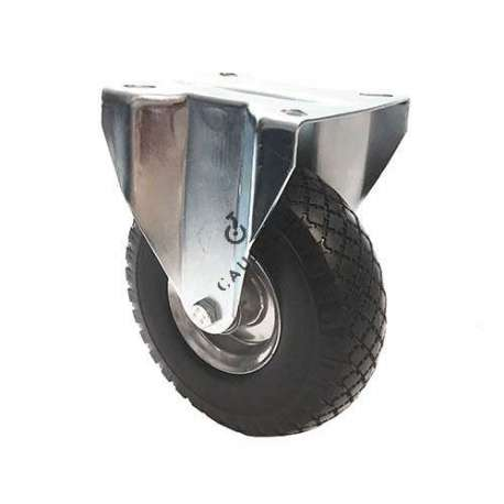 Fixed castor with puncture-proof tyre and metal rim, diameter 260 mm.